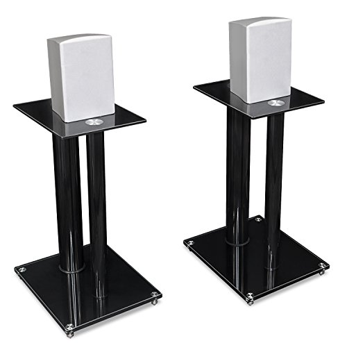 Mount-It! Speaker Stands for Book Shelf and Surround Sound Speakers, Universal Fit, Premium Dual Pillar Aluminum and Tempered Glass, Black (MI-28) by Mount-It!