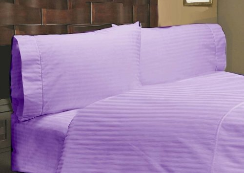 "UPC 888099638119, 400 Thread Count 1 PC Fitted Sheet 100% Egyptian Cotton Stripe Lilac Full 18"" Deep Pocket"