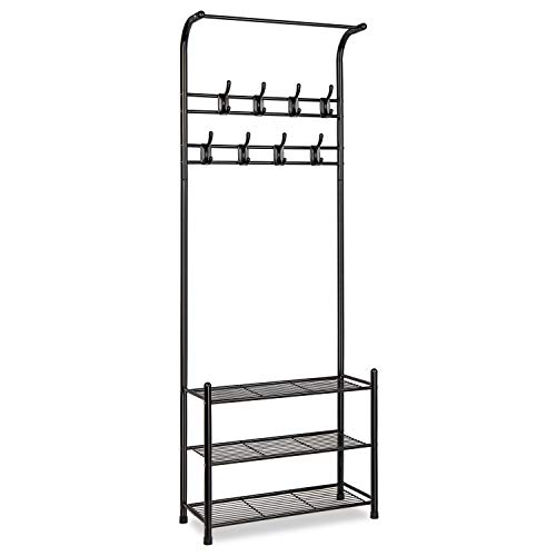 alvorog Entryway Coat Rack Shoe Bench, 3-in-1 Hall Tree, 3-Tier Storage Shelves with 16 Hooks Multifunctional Hallway Organizer, Easy Assembly (Black) ()