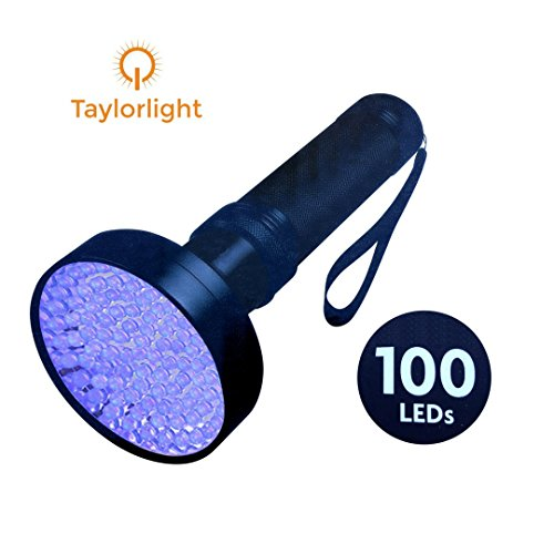 Uv Fluid (Taylorlight UV Black Light Flashlight - 100 LED Ultra Strong - Best for Detecting Pet Urine Stains, Bed Bugs, Scorpions, Counterfeit Money - Professional, Home & Hotel Use)