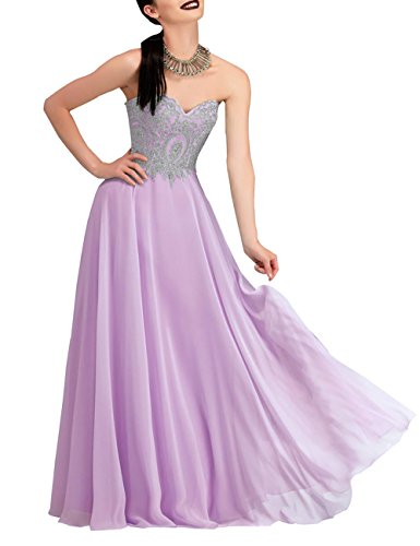 Abendkleid mit Erosebridal Goldstickerei Bodenlangen Violett Strapless znzETY