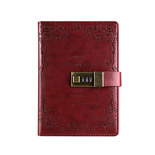 SAIBANG PU Leather Journal Writing Notebook, Fashion Daily Notepad with Combination Lock, Card Slots, Pen Holder, B6 Size Password Diary for Men and Women (Wine Red)