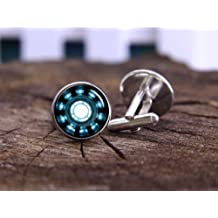 super hero cufflinks, arc heart cuff links, arc reactor, tony stark, wedding