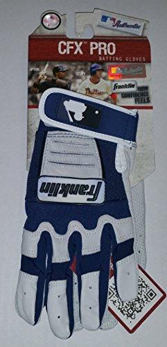Franklin CFX Pro Youth MLB Authentic Navy Blue White Pair Batting Gloves (L)