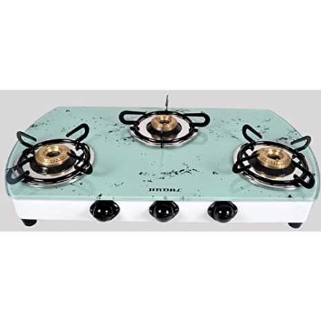 Jindal Designer White Marble 3 Burner Toughened Glass auto Ignition Cooktop Gas Stoves at amazon