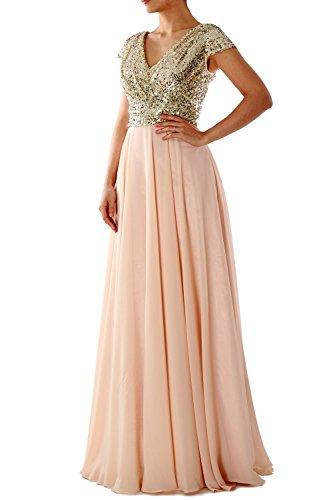 MACloth Cap Sleeve V Neck Sequin Chiffon Bridesmaid Dress Formal Evening Gown Aqua