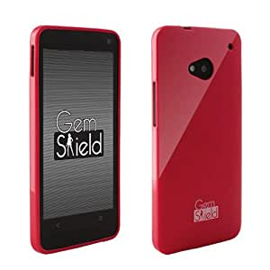 Hot Pink Gem Shield Glitter Girly Flexible TPU Protective Cover Case HTC One M7