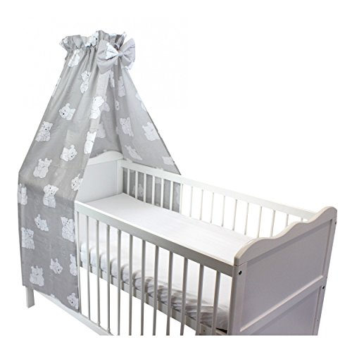 Babybett Himmel Baumwolle Baby Betthimmel Kinderbett Babybetthimmel mit Schleife Eule Rosa Blau Weiß, Farbe: Bärchen Weiß, Größe: ca. 160x240 cm