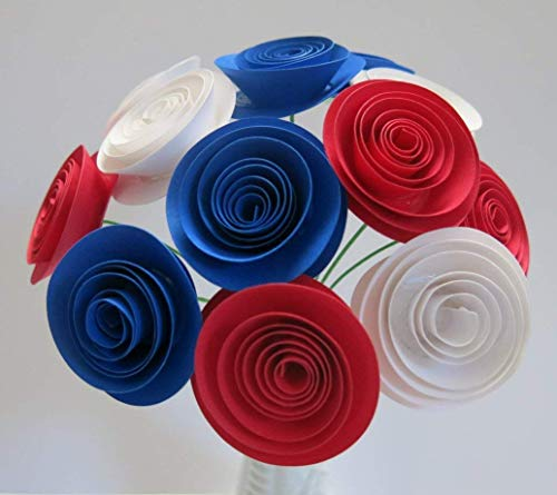 USA Patriotic Flower Centerpiece, 1.5 Inch Red White and Blue Paper Roses on Stems, 4th of July Picnic Decorations, Wedding Decor, US Pride, France Flag Colors, Military Ball Table