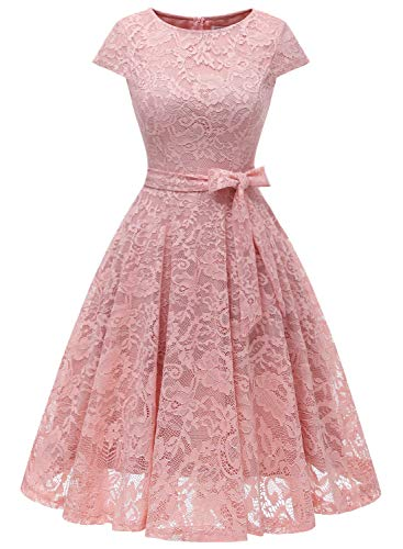 MUADRESS 6008 Women Short Lace Bridesmaid Dresses with Cap-Sleeve Formal Party Dresses Blush X-Small
