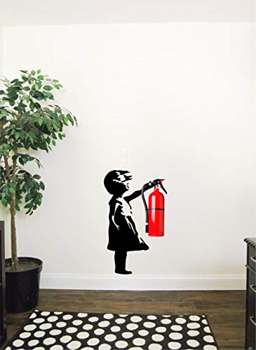 Banksy girl wall decal that fits fire extinguishers | Good for decorating office spaces, school walls, etc - Fun and Creative Interior Art Decor Sticker - Removable