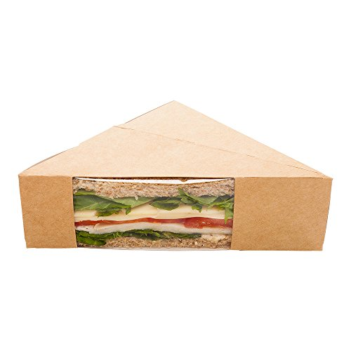 Small Sandwich Wedge Box, Sandwich Take Out Box - 4.8 Inch Triangle Sandwich Box with Window - Brown - 200ct Box - Restaurantware