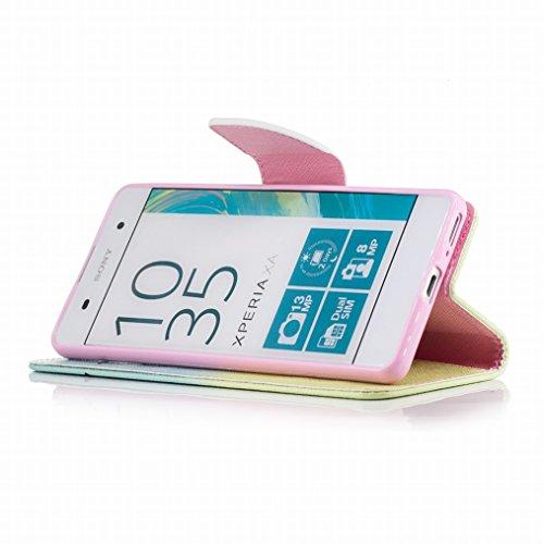 LEMORRY Sony Xperia XA Custodia Pelle Cuoio Flip Portafoglio Borsa Sottile Fit Bumper Protettivo Magnetico Chiusura Morbido Silicone TPU Case Cover Custodia per Sony Xperia XA, Piuma