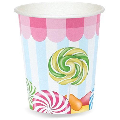 Circus 9 Ounce Cups (BirthdayExpress Carnival Candy Shoppe Party Supplies - 9 oz. Paper Cups (8))