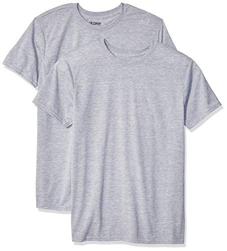 (Gildan Men's Moisture Wicking Polyester Performance T-Shirt, 2-Pack, Sport Grey, Medium)