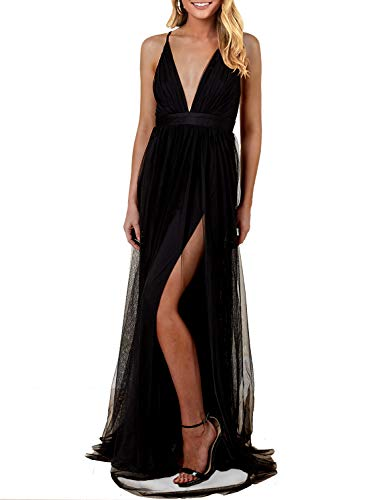 MIHOLL Womens Spaghetti Strap Deep V Neck High Slit Party Maxi Dress (Small, Black)