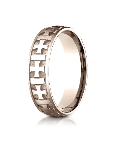 - PriceRock 14K Rose Gold 6mm Comfort-Fit Gaelic Cross Carved Design Wedding Band Ring for Men & Women Size 4 to 15