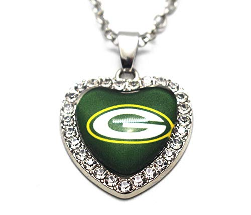 Green Bay Packers Rhinestone Glass Heart Necklace 20 Inch Alloy ()