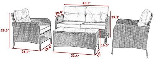 Amazon.com: Tangkula Juego de 4 piezas de muebles de patio ...