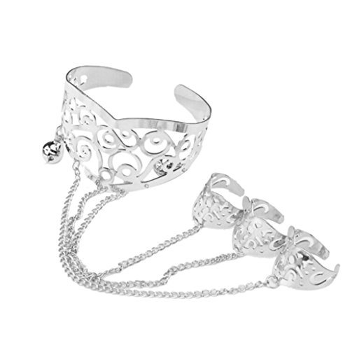 Molyveva Fashion Retro Hollow Carved Bracelet Linked Finger Ring Bangle Slave Chain Accessory Jewelry (Silver)