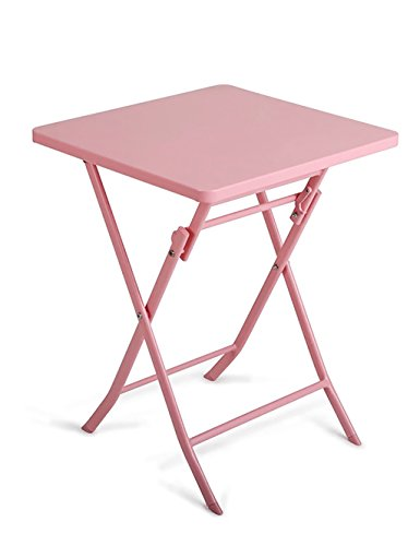 HAIPENG European Simple Folding Table Iron Coffee Table Leisure Side Table (5 Colors Optional) (Color : Pink, Size : LWH: 555571cm) (Iron Square Nesting Tables)