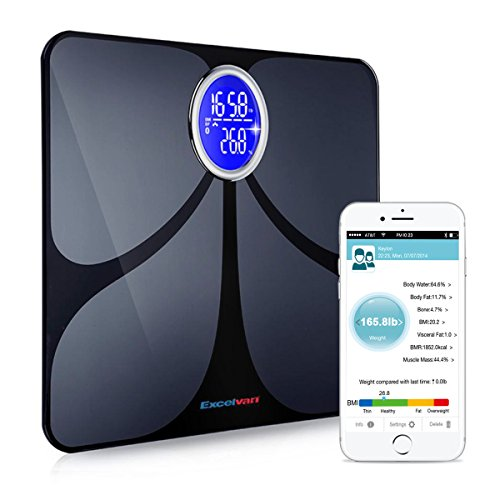 Excelvan CF366 Precision Smart Body Fat Scale Bluetooth with 8 parameters Smartphone App Body Scale Analyzer (400lb, Black) (Smart Phone Weight Scale)
