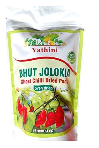 Yathini Bhut Jolokia Whole Chilli Pods 57gram/2oz (50+ Pieces in Count) Oven Dried Worlds Hottest Chili Pepper from Assam Ghost Chili Manipur King Chilli