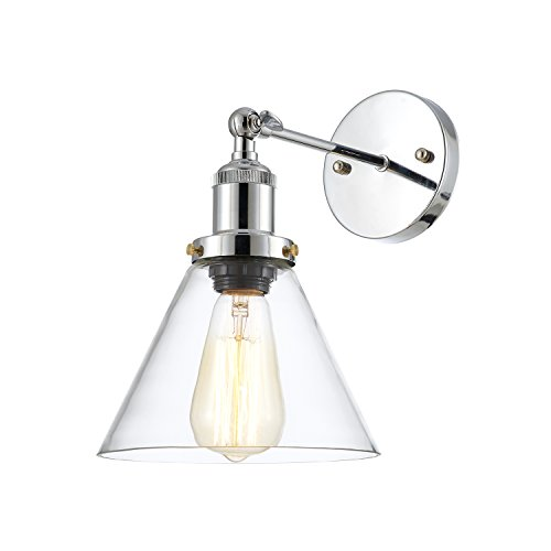 Ohr Lighting Wall Sconce Lamp, Vintage Edison Industrial Light Fixture with Clear Glass Shade (Nickel Chrome, 7.5