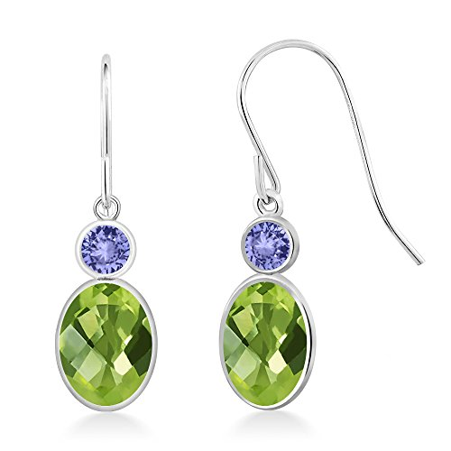 Gem Stone King 2.24 Ct Oval Checkerboard Green Peridot Blue Tanzanite 14K White Gold Earrings ()