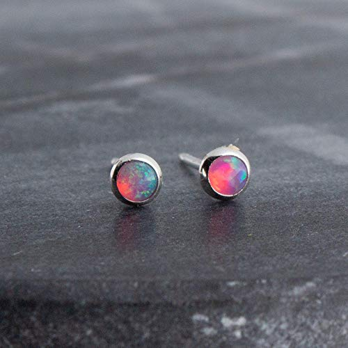 Sterling Silver Pink Opal Cabochon Stud Earrings SS-3MM-Cab-Pink Opal