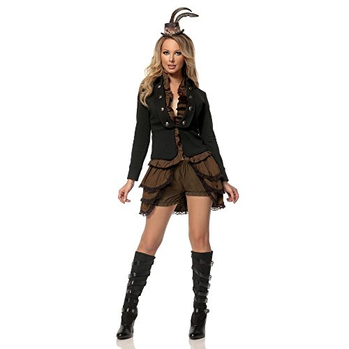 Plus Size Hollywood Fancy Dress Costumes (Mystery House Women's Plus-Size Steampunk Lady Deluxe, Brown/Black, Small)