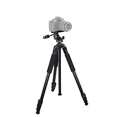 "Versatile 80"" Heavy Duty tripod for : Canon PowerShot D20 CameraTripod - 360 Degree Pan, Tilt + Quick Release, Vertical Leg Adjustments, (2) Bubble Level Indicators + Durable Carry Case"