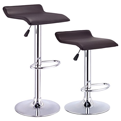 Costway Set Of 2 Swivel Bar Stools Adjustable PU Leather Backless Dining Chair (Brown)