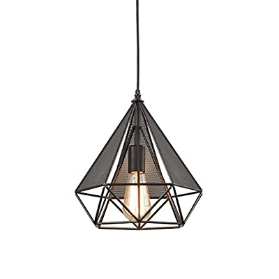 YOBO Lighting Polygon Loft Art Deco Vintage Wire Pendant Kitchen Chandeliers, Oil Rubbed Bronze