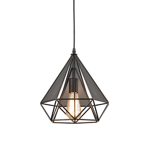 Art Wire Deco - YOBO Lighting Polygon Loft Art Deco Vintage Wire Pendant Kitchen Chandeliers, Oil Rubbed Bronze