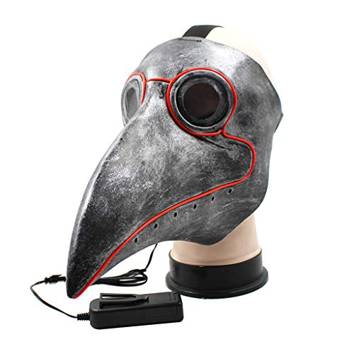 Qupida LED Medical Plague Doctor Mask Beak Bird Long Nose Steampunk Halloween Costume Party Cosplay Props]()