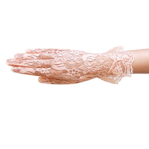 (ZaZa Bridal Flower Pattern Women's Lace Gloves with Ruffle Wrist Length-Peach)