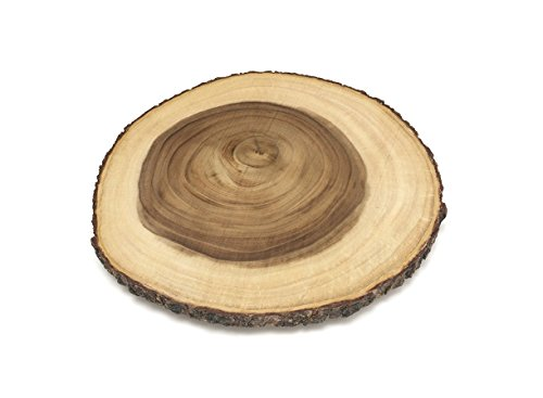 "Lipper International Acacia Wood 16"" Large Slab Lazy Susan with Bark Rim - top view"