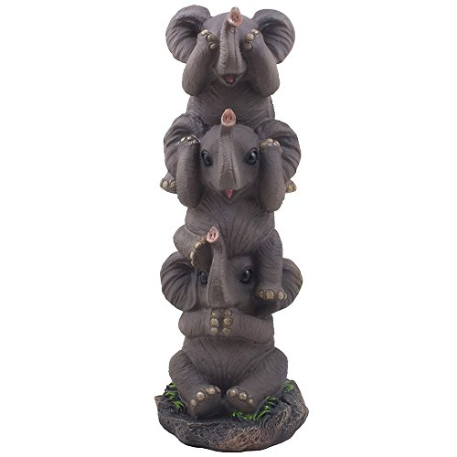 See, Hear and Speak No Evil Elephants Totem Statue for African Jungle Safari Decor or Whimsical Animal Figurines As Decorative Birthday Gifts That Bring Luck by Home-n-Gifts (Jungle African Elephant)