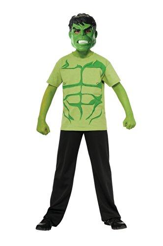 Incredible Hulk Movie Costumes (Marvel Avengers Assemble Incredible Hulk Costume T-Shirt with Mask, Medium)