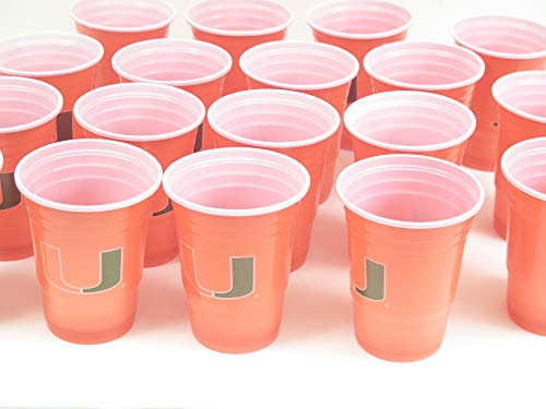 University of Miami Jumbo party cups set of 36. Large plastic colorful 18 oz. game day plastic -