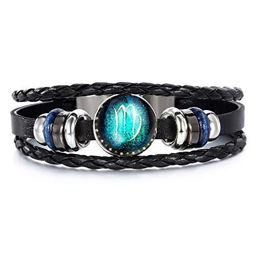(Jzone Zodiac Retro 12 Constellation Luminous Astrology Horoscop Beaded Hand Woven Leather Bracelet for Men Women Punk Chain Wristband Bangle Cuff (Virgo))
