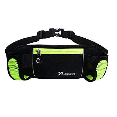 Youthny Sac Banane Sport Multi-Pochette Légère Portable pour Course Exercice Marathon Vert Fluorescent