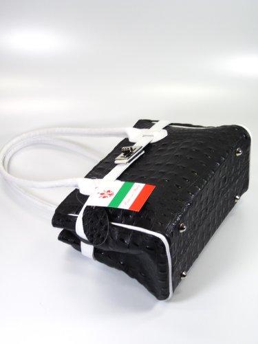 Ital. Echt Leder Handtasche elegante Mini Bag schwarz weiß in Kroko Prägung - 26x18x13 cm (B x H x T)