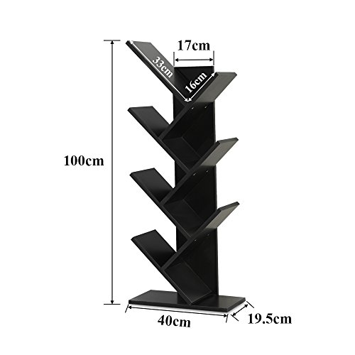 WSTECHCO 7 Shelf Wood Tree Bookshelf Compact Black Book Rack Bookcase Display Organizer Shelf CDs, Movies & Books Holds Up to 7 Books Per Shelf
