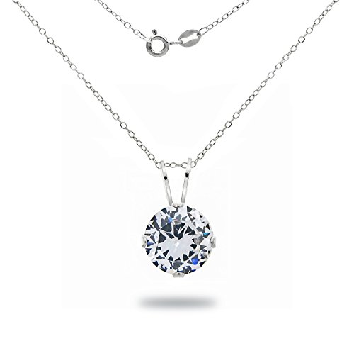 La Regis Jewelry Sterling Silver 7mm 2tcw Round Cubic Zirconia Pendant Necklace, 18