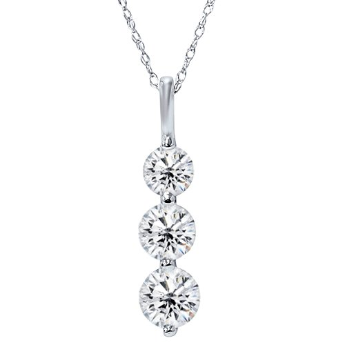 Huge 2.00ct Real 3 Stone Diamond Pendant Past Present Future 14K White Gold New