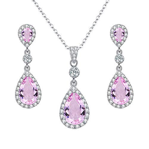 (EleQueen 925 Sterling Silver Full Cubic Zirconia Teardrop Bridal Pendant Necklace Dangle Earrings Set Pink Tourmaline Color)