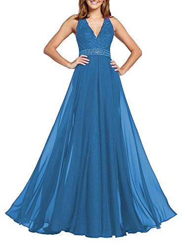 Beyonddress para Sin mangas 42 mujer Vestido azul trapecio ravqpzwr
