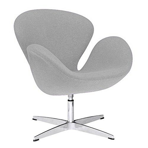 Fine Mod Imports FMI1140-lightgray Swan Chair Fabric, Light Gray